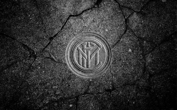 Indir duvar kağıdı Inter Milan, logo detaylı, taş doku, -Bir Dizi Uluslararası