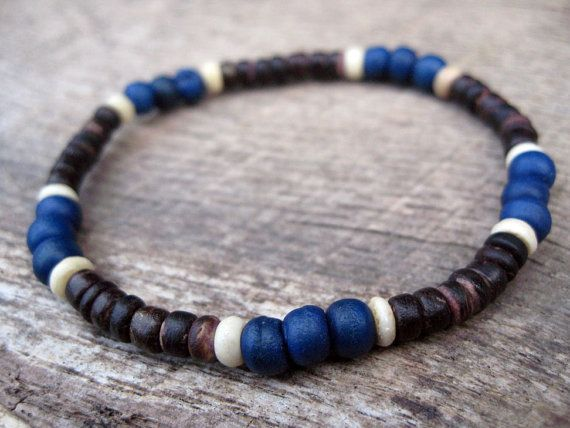 Mens surfer bracelet bone and coconut beads by thehappymushroom, £5.50