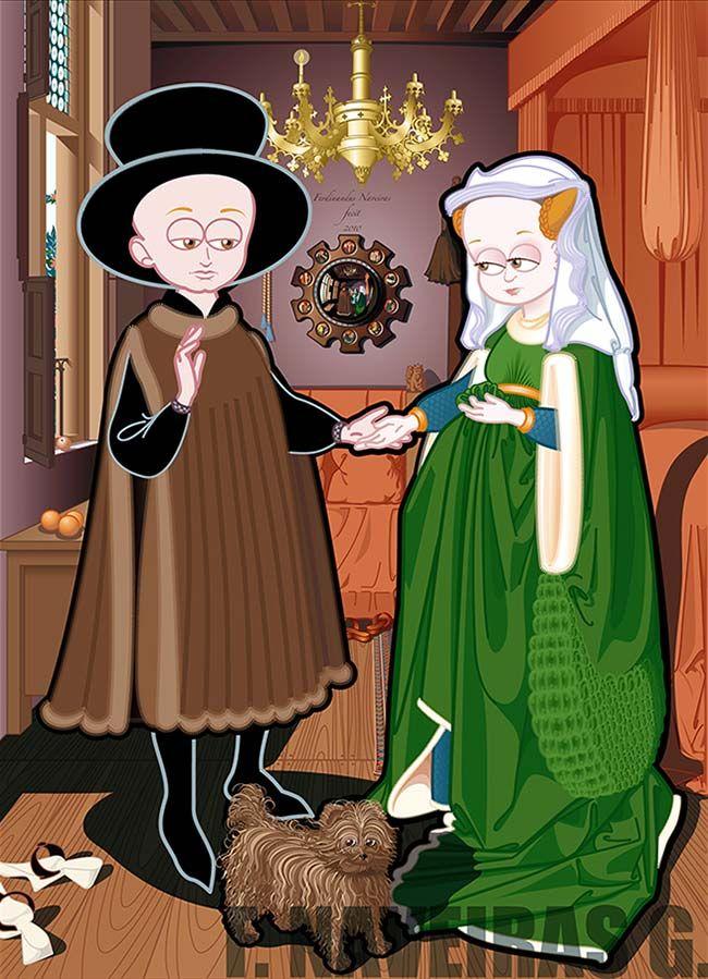 """""""Matrimonio Arnolfini"""" versión ilustrada digitalmente del cuadro de Jan van Eyck"""