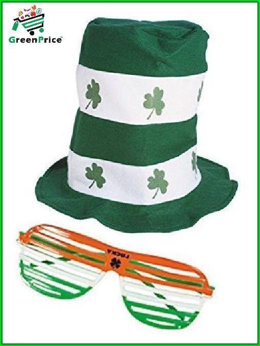 b7cb8219c2ec0 ST Saint Patricks Day Stove Pipe Hat and Shutter Glasses Costume Accessories  NEW  irish  irishhat  hat  hats  fedora  saintpa…