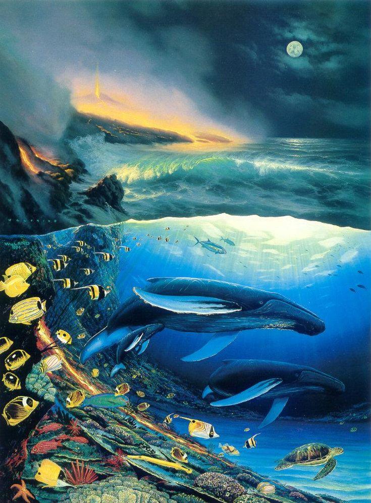 wyland art | Animal Art - Robert Wyland & Walfrido] Two Worlds Of Paradise, 1994 ...