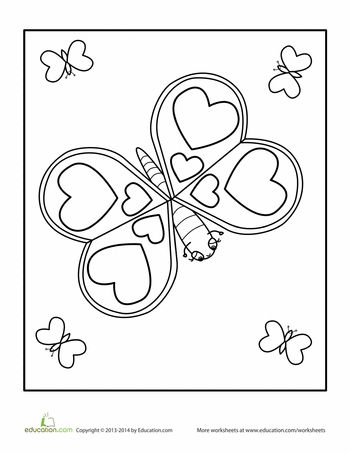 valentines day butterfly coloring page