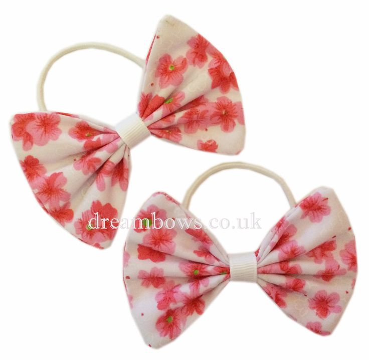 Pink and white floral fabric hair bows for girls on thin bobbles - www.dreambows.co.uk pink hair bows, bows for kids, handmade hair accessories uk, uk hair bows for sale, floral hair fashion, hair styles for girls, bows