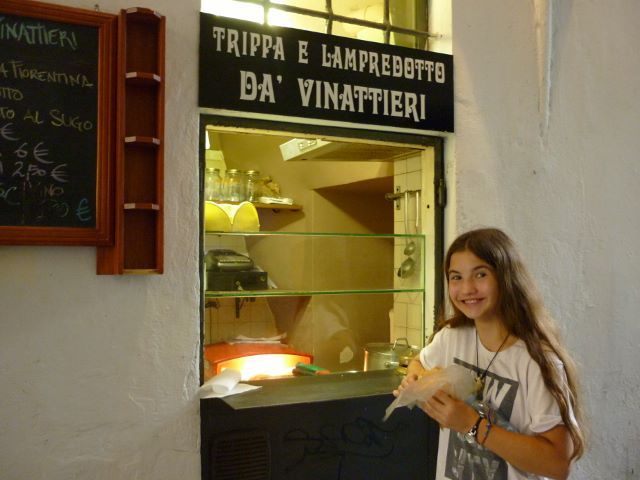 Trippa e Lampredotto in a Florence laneway, little did we know that Trippa meant tripe, oops.