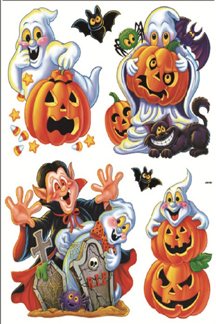 Vintage halloween window decorations - Hallowee Stickers Happy Halloween Holiday Room Window Decoration Vinyl Window Stickers