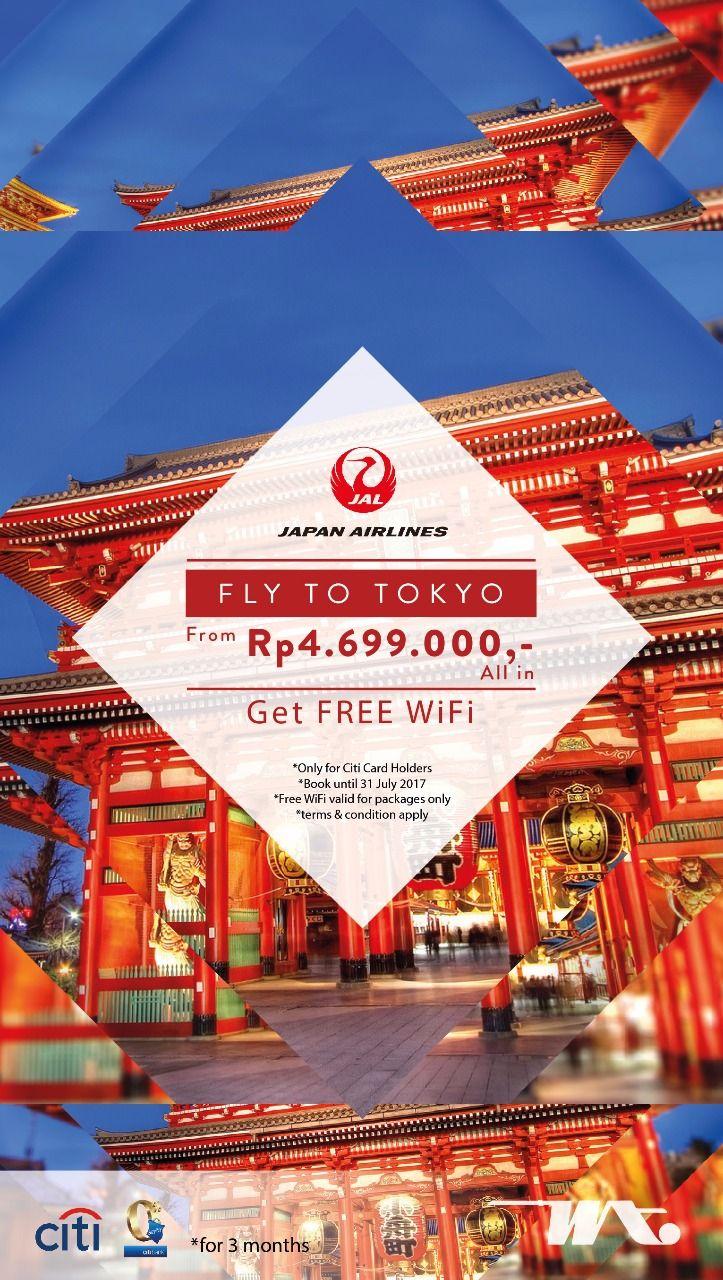 Penawaran spesial liburan ke Jepang khusus untuk Anda pemegang Kartu Kredit Citi. Dapatkan tiket pesawat ke Tokyo mulai dari Rp4,6 juta dengan Japan Airlines. Dan lengkapilah perjalanan Anda dengan pilihan paket menarik dari Wita Tour dan bonus gratis wifi router. Pembelian tiket sampai dengan 31 Juli 2017.  Nikmati cashback hingga Rp300.000,- atau EzyPay 0% - 3 bulan dengan Kartu Kredit Citi. Hubungi kami segera dan travel consultant terbaik kami siap melayani Anda.