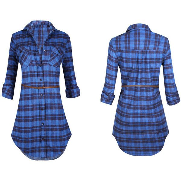 Women's Long Sleeve Button Down Plaid Flannel Belted Tunic Shirt Dress... ($27) ❤ liked on Polyvore featuring tops, green, tops & tees, blue button-down shirts, blue flannel shirt, flannel shirt, blue plaid shirt and long sleeve button up shirts