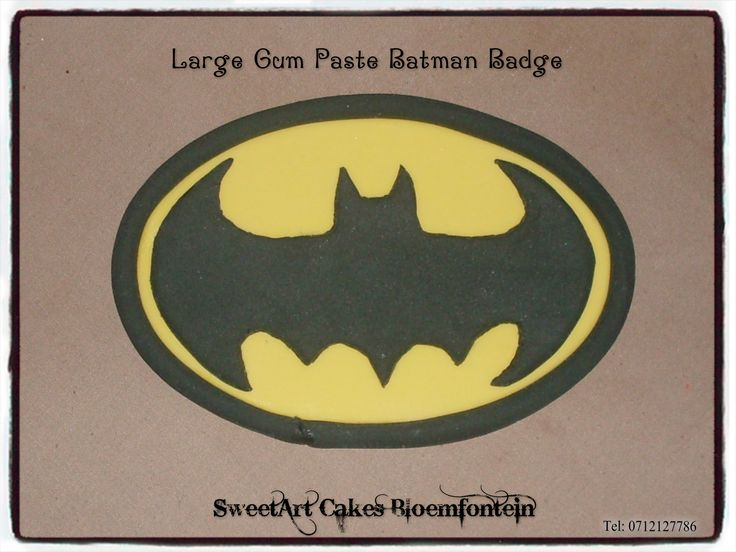 Gum paste batman sign SweetArt Cakes Bloemfontein for all your cake & cupcake needs.  (Workshops available)  For more info & orders email sweetartbfn@gmail.com or call 0712127786.