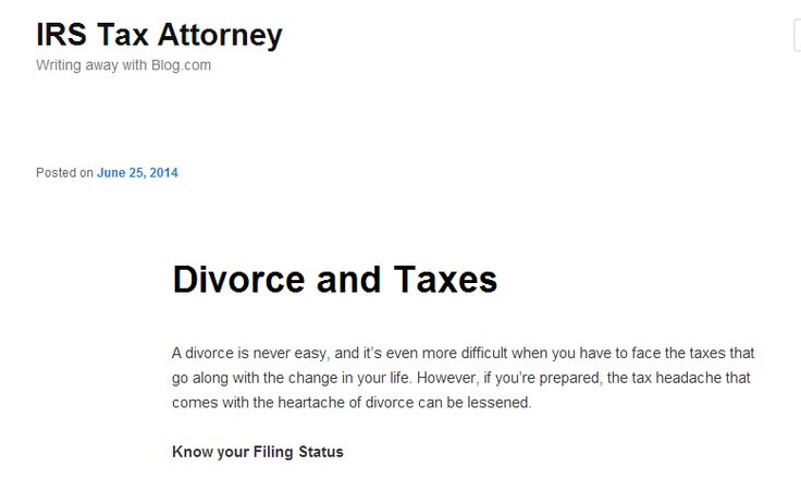 If you end up in trouble do not Escalate IRS Disputes  Divorce and Taxes, IRS Disputes -- http://myirsteam.blog.com/2014/06/25/divorce-and-taxes/