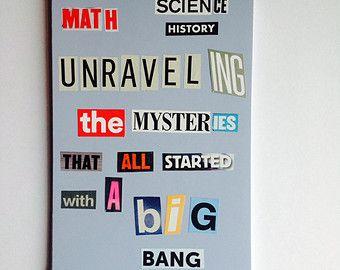 Handmade notebook - The Big Bang Theory lyrics - plain pages - recycled - fab gift