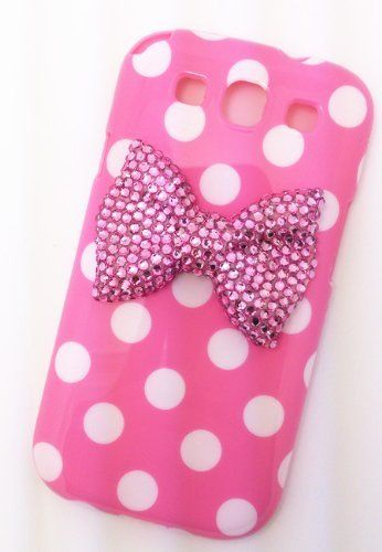 Cute 3D Bling Pink Bow White Dot Pattern Case Cover for Samsung Galaxy S3 i9300, I747, L710, T999,i535 - AT&T, T Mobile, Sprint, Verizon
