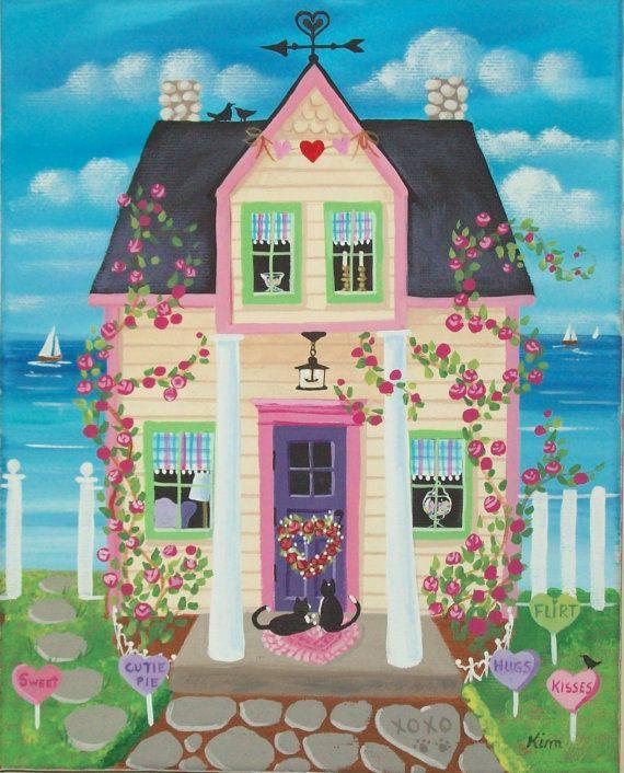 Dulces corazones casa arte popular impresión por KimsCottageArt                                                                                                                                                                                 Más