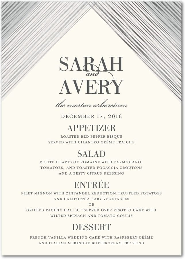 Everlasting Gem - Signature Foil Menu Cards in Watermelon or Baroque | Elm and Gray