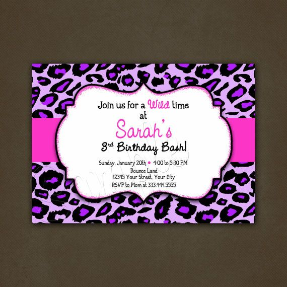 Pink Zebra Print Girls 1st Birthday Invitation: Purple Leopard Animal Print Birthday Invitation Printable