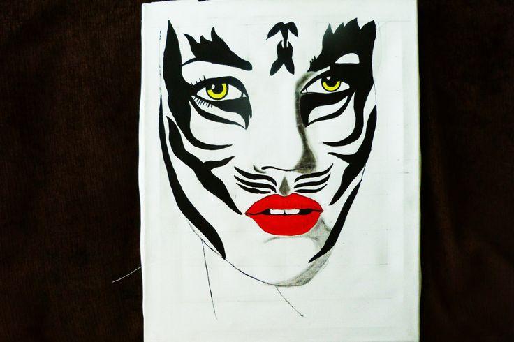 Tigresa pintado por Alex sobre lienzo en acrílico