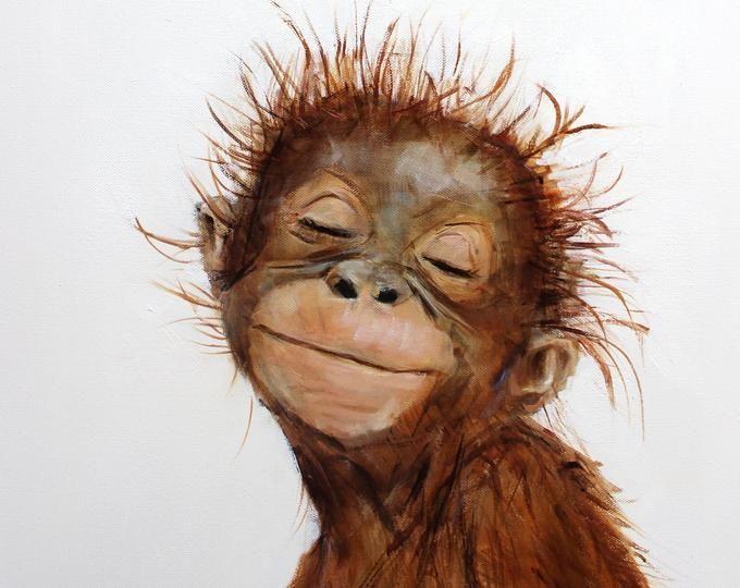 Afdrukken Canvas Orangoetan Weinig In 2020 Druck Auf Leinwand