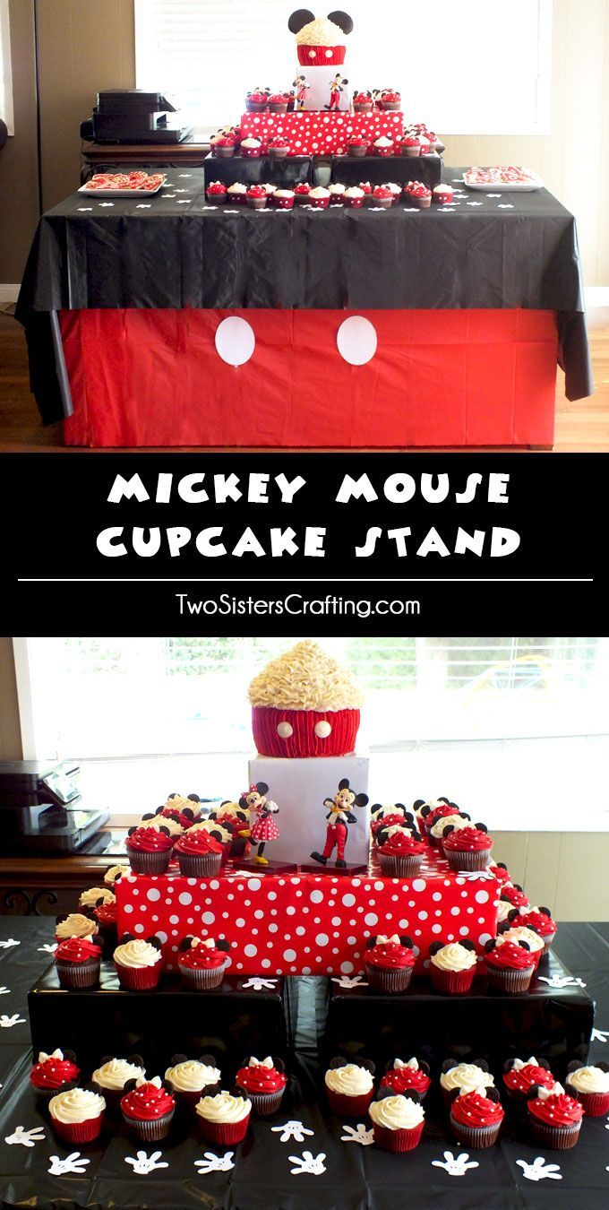 We created a Mickey Mouse Cupcake Stand to display our Mickey Mouse Cupcakes at our Mickey Mouse Birthday Party. So beautiful and so easy to make. Follow us for more great Mickey Mouse Party Ideas.