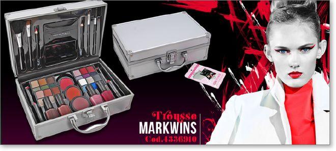 MARKWINS cod.4336910.  Bauletto professionale in metallo. Contiene oltre 40 articoli tra cui: ombretto in crema, aplicatore labbra, smalto per unghie, fard, matite pennelli e varie. Dimensione valigetta cm.26 x 17 x 10.