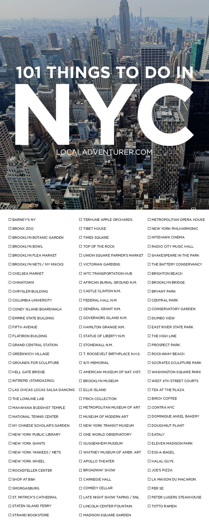Check out our 101 Things to Do in NYC Bucket List - from the touristy spots everyone has to do at least once to the spots a little more off the beaten path. // localadventurer.com partez en voyage maintenant www.airbnb.fr/c/jeremyj1489