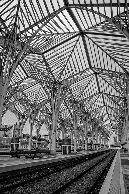 Gare do Oriente, Lisbon, Portugal. designed by the Spanish architect Santiago Calatrava and built by Necso. Finished for the Expo '98.
