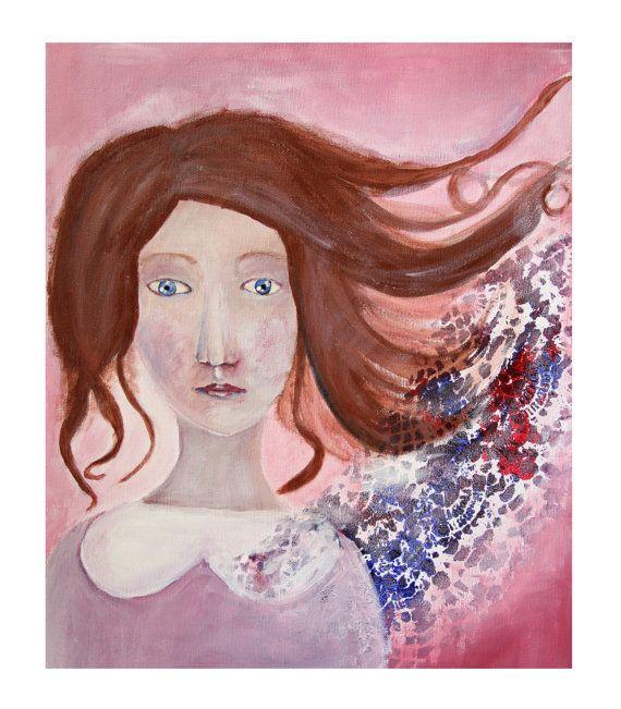 Art poster Art print Girl portrait Woman by NataliesWunderland