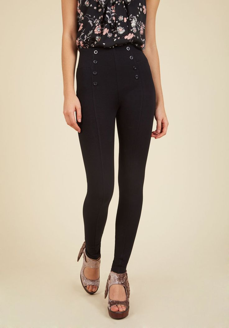 Sail into the Future Pants in Black. Timelessly sailor-inspired fashion never goes out of style - it just reinvents itself in chic looks like these black, form-fitting pants! #black #modcloth