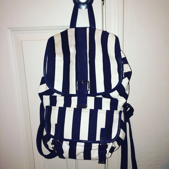 Blue and white striped forever 21 bag Blue and white backpack 10$ Forever 21 Bags Backpacks