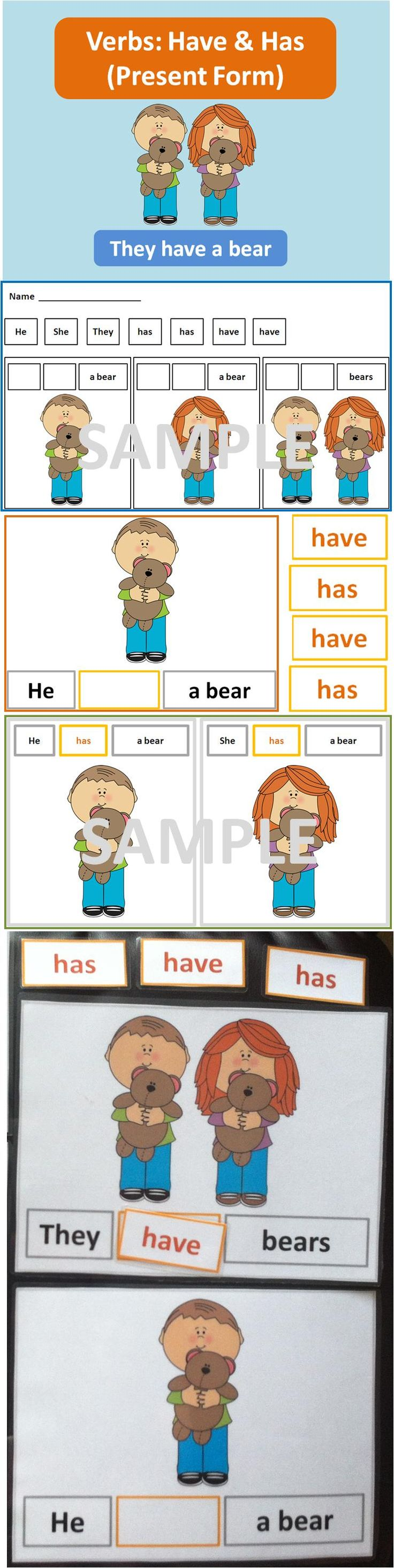 Verbs Have and Has (Present Form) This package is designed to teach the different forms of 'have' for the subject pronouns: He, She, They