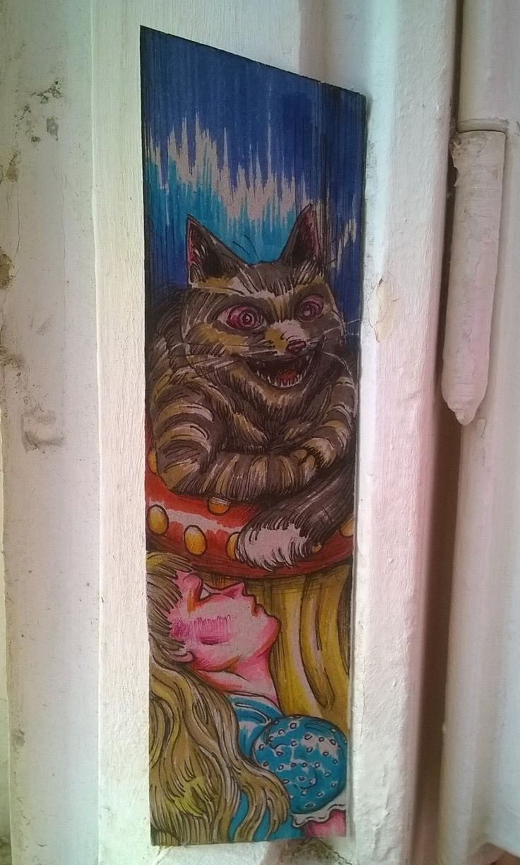 alice in wonderland...cardboard bookmark,  handpainted
