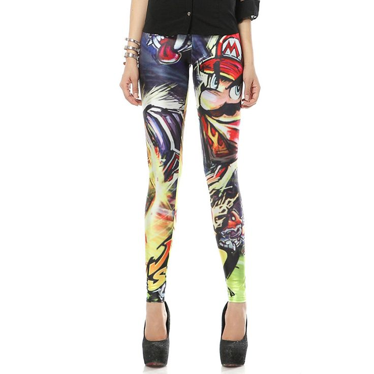 New Arrival 1108 Sexy Girl Cartoon Super Mario brothers Printed Elastic Fitness Polyester Workout Women Leggings Pants #Affiliate