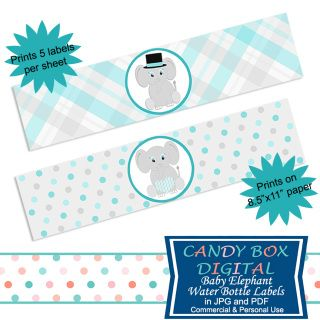 Ready-To-Print Boy Baby Elephant Water Bottle Labels and Napkin Wraps for Baby Showers and DIY parties. It's time to celebrate the Little Man and these water bottle labels will help you with that theme!