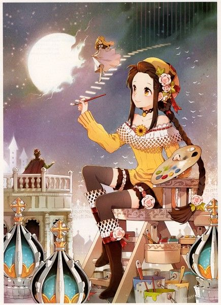 Tags: Anime, Nardack, Paintbrush, Pixiv Girls Collection, Drawing (action), Yellow Shirt, Pixiv Girls Collection 2010