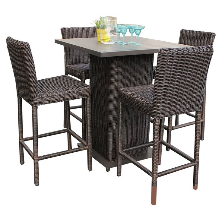 Rustico Pub Table Set With Barstools 5 Piece Outdoor Wicker Patio Furniture    Tropical   Outdoor Pub And Bistro Sets   Design Furnishings Part 28