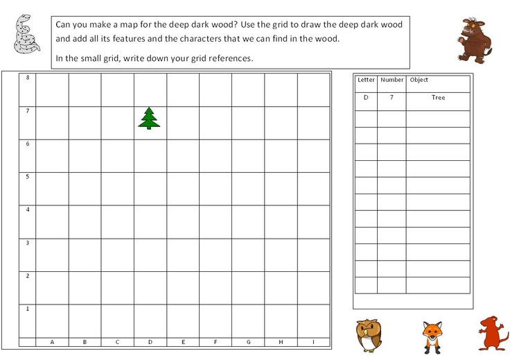 Gruffalo Map making of the deep dark wood - Create your own map and grid references.