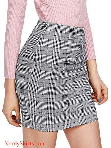016a2ed7d7 SheIn Women's Basic Stretch Plaid Mini Bodycon Pencil Skirt in 2019 ...