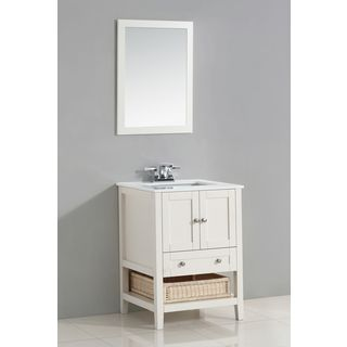 WYNDENHALL Belmont White 25 Inch Bath Vanity Set With Two Doors And White  Quartz Marble