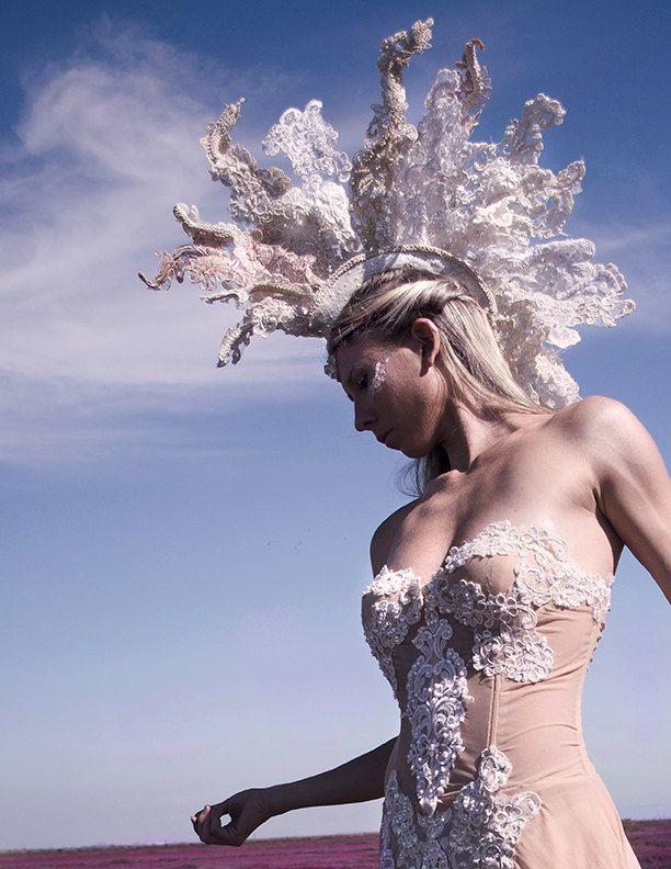 Mohawk Burning Man Mohawk Wedding Headdress Lace. $495.00, via Etsy.