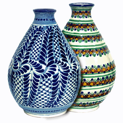 Talavera Tear drop vases have sleek, clean lines combined with designs in traditional colors...