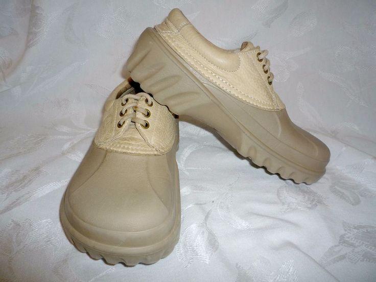Crocs Comfort Beige Tan Women's 7 Men's 5 Leather Lace Up Duck Shoes  #Crocs #AllTerrian