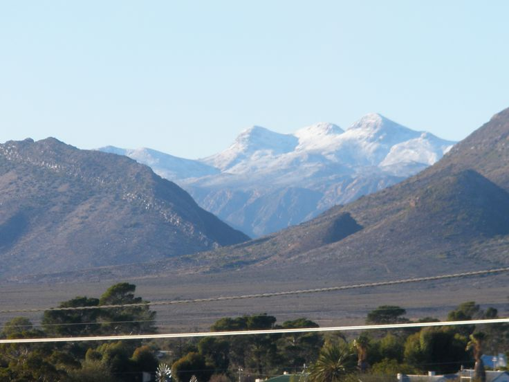 View from Karoo View Cottages of snow on the Swartberg Mountains
