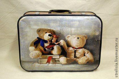"""Чемоданы ручной работы. Ярмарка Мастеров - ручная работа винтажный чемодан """"Медвежата"""". Handmade."""