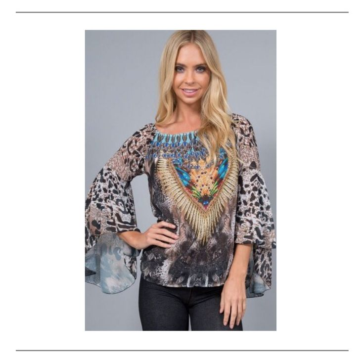 Wear%20this%20gorgeous%20print%20top%20off%20the%20shoulder%20with%20white%20jeans%20and%20tan%20boots.Features:%20-%20Black%20Brown%20Colour%20Way%20Print%20-%20Embellished%20on%20the%20front-%20Elastic%20Neckline%20-%20Long%20Raglan%20Bell%20Sleeve%20with%20Open%20Frill%20Detail%20-%20Smock%20Style%20-%20100%%20Polyester-%2092cm%20Bust%20-%20Length%2065cmPlease%20add%20approx%203cm%20for%20each%20size%20