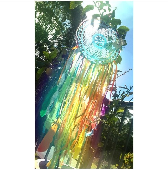 Custom order rainbow dreamcatcher by Beauty In Numbers. Available to order at www.beautyinnumbers.etsy.com
