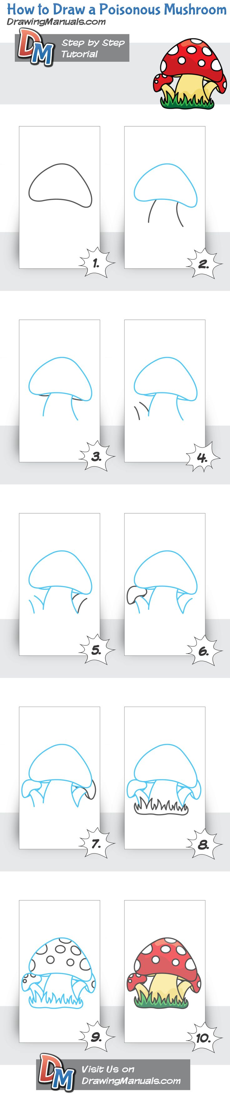 How to Draw a Poisonous Mushroom, easy and detailed step-by-step cartoon drawing tutorial. http://drawingmanuals.com