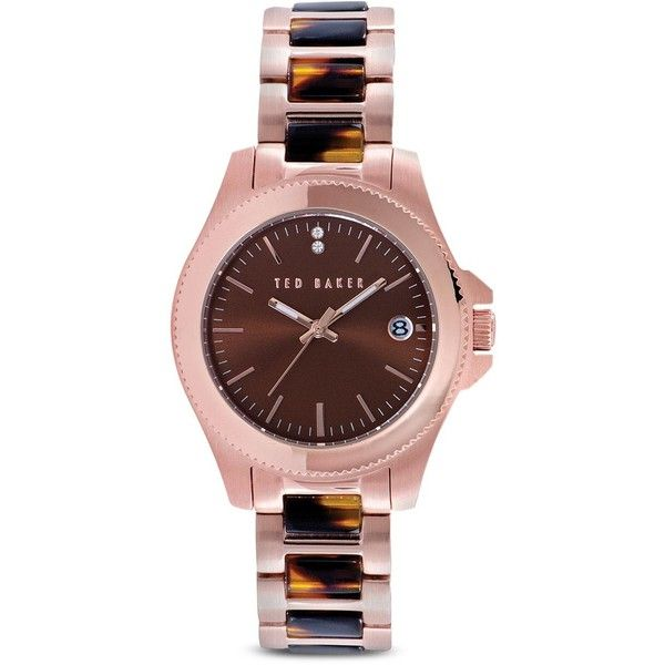 Warranty Information. Rose gold–tone ion plated stainless steel/acetate/Mother of Pearl/crystal. Imported. Case size: 35mm. Butterfly clasp closure. Water resi…