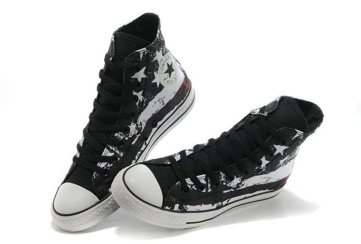 Cool Converse American Flag High Tops Black Red White Graffiti Print Chuck Taylor All Star Canvas