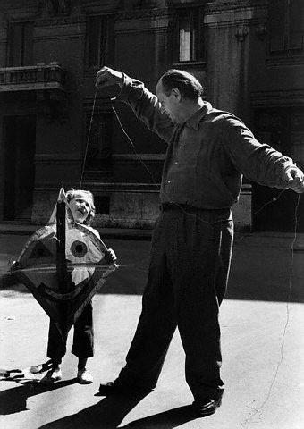 Massimo Campigli with His Son Nicoletto, Milan, 1947 -by Federico Patellani  [ref: official site for Massimo Campigli]  from corbis