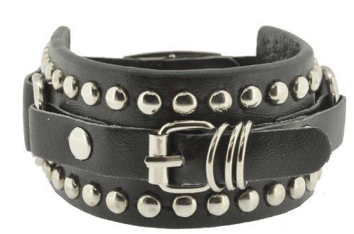 Black Leather Stainless Steel Buckle Punk Bracelet / Punk Rock Leather Bracelet/ Leather Wrap Bracelet Hinky Imports. $9.99. Length:7.5, 8 and 8.5 Inches. Width: 1.25 Inches. Stainless Steel Star Punk Bracelet. Made from Leather and Stainless Steel. Handmade Punk Rock Bracelet