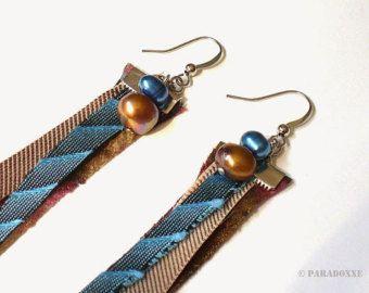 Пресноводные жемчужные серьги Upcycled шелковый галстук ювелирные изделия Ювелирные изделия Эко-дизайн ткани Текстильная Серьги бирюзовый + медно-коричневый