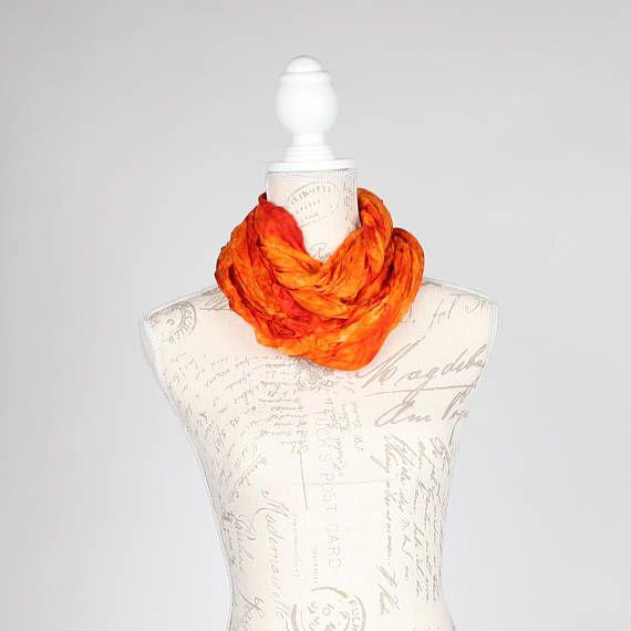 Burnt orange wrinkled infinity scarf / Trendy orange scarf  /
